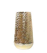 schmale, goldene Vase in Hammerschlag-Optik
