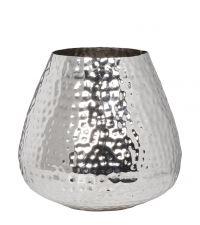 riesiger Blumentopf oder Vase in Hammerschlag-Optik, silber