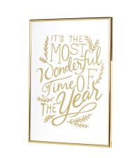 gold gerahmtes Wandbild mit Weihnachts-Schriftzug