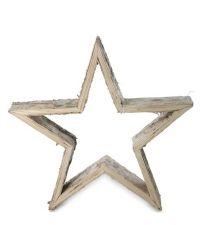 rustikaler Stern Aufsteller aus Holz, groß