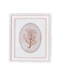 dekoratives Wandbild mit weißem Rahmen & zartem orangen Korallen-Print