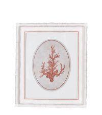 dekoratives Wandbild mit weißem Rahmen & orangem Korallen-Print