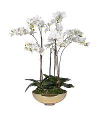 weiße, künstliche Orchidee in goldener Schale