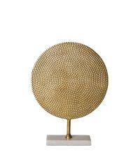 goldene Hammerschlag-Skulptur mit Marmor-Sockel