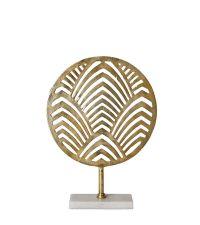 Runde goldene Skulptur im Palmenblatt-Design und Marmorsockel