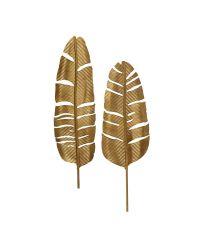 2er-Wanddeko-Set aus unterschiedlichen Metall-Federn in Gold