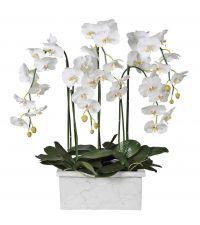 riesiges Orchideen-Kunstblumengesteck in länglichem Blumentopf in Marmor-Opik, weiß