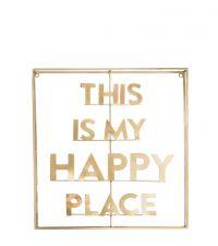 goldenes 3D Wandschild mit Schriftzug 'This is my Happy Place' mit doppeltem Metallrahmen