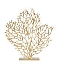 großer, goldener Deko-Aufsteller aus Aluminium in Baumform