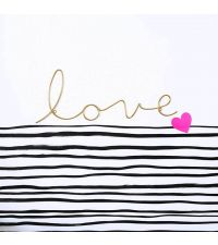 geschwungener, goldener Schriftzug 'love' aus zartem Draht
