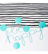 geschwungener Schriftzug 'be happy' aus zartem Draht, türkis