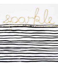 geschwungener, goldener Schriftzug 'sparkle' aus zartem Draht