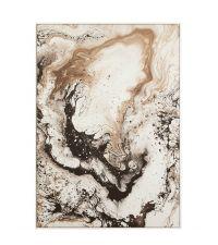 großer moderner Leinwanddruck, Wandbild mit abstrakter Musterung in Marmor-Optik, braun bis schwarz