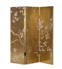 metallisch gold reflektierender Paravent verziert mit Blüten & Ästen