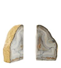 2 Achat-Buchstützen mit gold folierten Kanten, grau