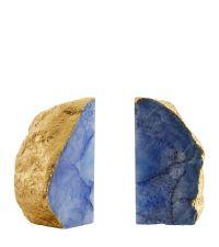 2 Achat-Buchstützen mit gold folierten Kanten, blau