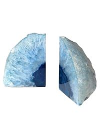 Buchstützen aus Achat-Stein dunkelblau verlaufend