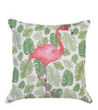 Dekokissen mit Blatt- und Flamingoprint, grün-pink