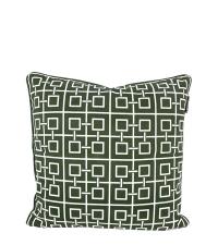 Kissenhülle aus Baumwolle mit geometrischem Quadrat-Muster, dunkelgrün & weiß