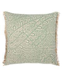 handgemachtes Baumwoll-Kissen mit orientalischem Muster, mintgrün