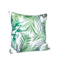 Dekokissen mit tropischem Blatt-Aufdruck, weiß & grün