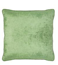 handgefertigte Kissenhülle aus Samt mit Kederumrandung, Samtkissen grün