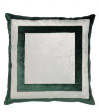 handgefertigter Kissenbezug aus Samt, grün und weiß