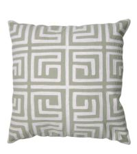 handgemachtes Kissen mit geometrischem Labyrinth-Muster, hellgrün & weiß