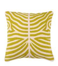 handbesticktes Kissen mit hellgrünem Zebra-Muster