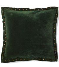 große Kissenhülle aus Samt mit Nieten und Stehsaum, Samtkissen dunkelgrün