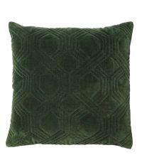 dunkelgrünes Dekokissen mit Baumwoll-Samtbezug und geometrischem Muster