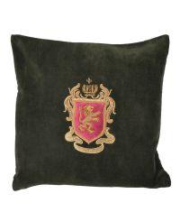 Kissenhülle aus waldgrünem Samt bestickt mit rot-goldenem Wappen
