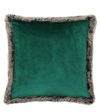 weiche Kissenhülle aus grünem Samt mit flauschiger Einfassung aus Kunstfell