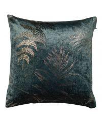 Kissenhülle aus dunkelgrünem Samt verziert mit metallic goldenem Blatt-Muster