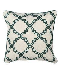 Kissenhülle mit geometrischem Trellis-Muster, elfenbein & dunkelgrün