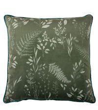 dunkelgrüne Samt-Kissenhülle mit Blatt- und Farnprint