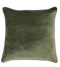 edel schimmernde Kissenhülle aus Samtstoff mit Kederumrandung, grün