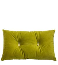 grünes Samt-Dekokissen mit zwei Ananas-Knöpfen