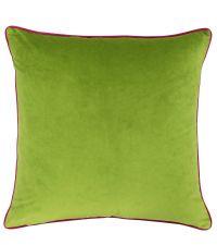 große, grüne Samt-Kissenhülle mit pinkem Keder