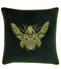 Samt-Kissenhülle in dunkelgrün mit aufgesticktem Bienen-Motiv in gold
