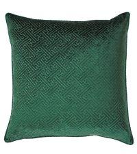 große Kissenhülle aus Samt mit erhabener, geometrischer Musterung, dunkelgrün