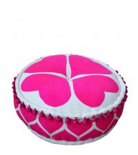 Pouf mit romantischem Herzmuster verspieltes Sitzkissen mit Bommeln pink