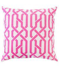 Kissenhülle aus Baumwolle mit geometrischem Muster, grau & berry pink