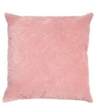 Dekokissen aus Samt mit geometrischem Muster, Samtkissen rosa