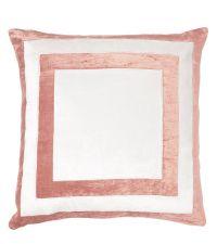 handgefertigter Kissenbezug aus Samt, rosa und weiß