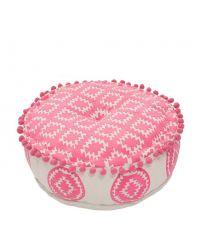 runder Pouf mit rosa Ethno-Muster und Bommeln