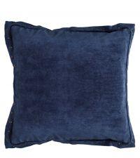 große Kissenhülle aus Samt mit Nieten und Stehsaum, Samtkissen dunkelblau
