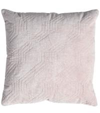 hellrosa Dekokissen mit Baumwoll-Samtbezug und geometrischem Muster, Samtkissen rosa hell