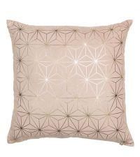 rosa Kissenhülle mit gold glänzendem, geometrischem Sternen-Muster