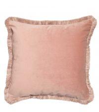 rosa Kissenhülle aus Samt mit dickem Fransenrand